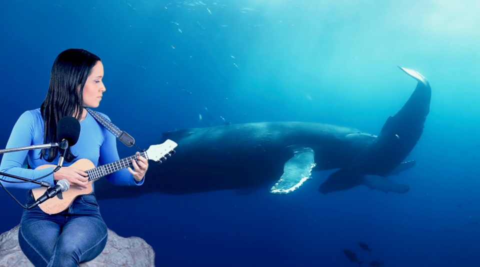 Woman Sitting on a rock with a uke watching a mother whale and her calf.